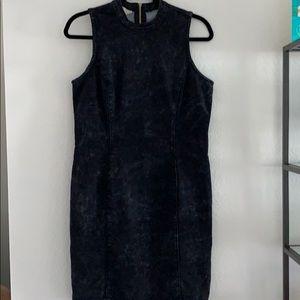 Distressed stretch denim dress